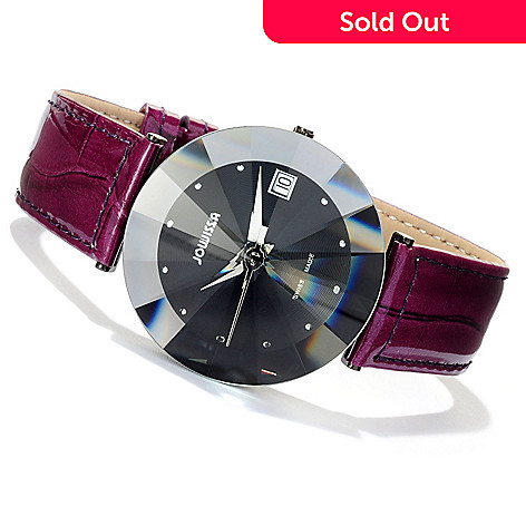 618-083 - Jowissa Women's Pyramid Swiss Made Quartz Stainless Steel Leather Strap Watch