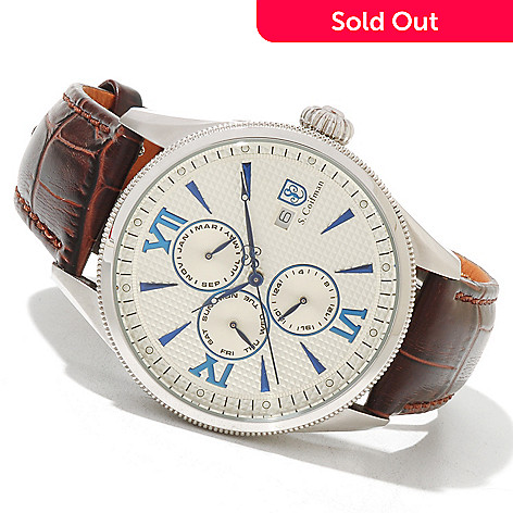618-236 - S. Coifman Men's Quartz GMT Stainless Steel Case Leather Strap Watch