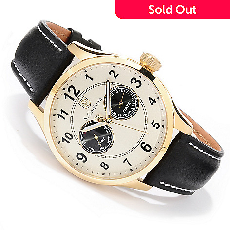 618-248 - S. Coifman Men's Quartz Stainless Steel Case Leather Strap Watch