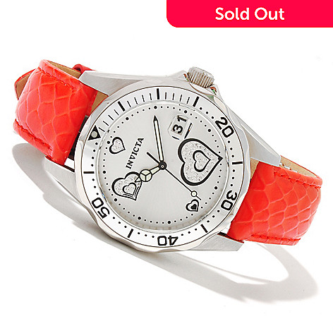 618-265 - Invicta Women's Pro Diver Quartz Heart Shape Accented Dial Leather Strap Watch