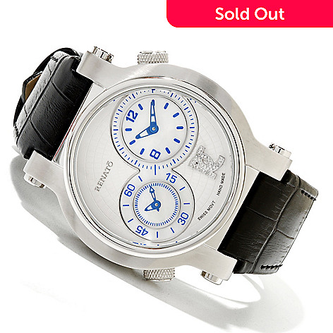 618-304 - Renato Limited Edition Dual Time Swiss Quartz Diamond Accented Leather Strap Watch