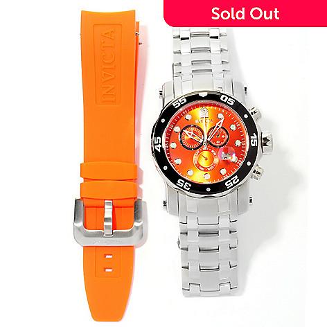 618-342 - Invicta Men's Pro Diver Scuba Quartz Chronograph Interchangeable Bracelet Watch w/ Extra Strap