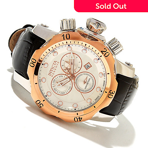 618-343 - Invicta Reserve 46mm Venom Swiss Made Quartz Chronograph Leather Strap Watch