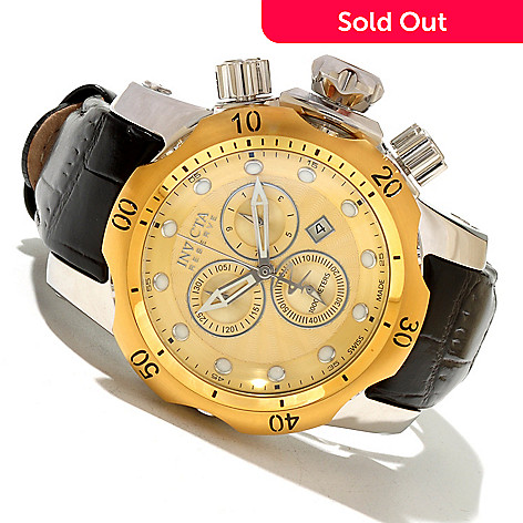 618-344 - Invicta Reserve 46mm Venom Swiss Made Quartz Chronograph Leather Strap Watch