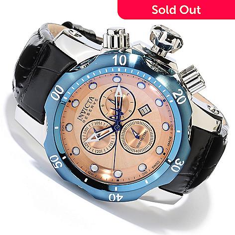 618-352 - Invicta Reserve Mid-Size Venom Swiss Made Quartz Chronograph Leather Strap Watch