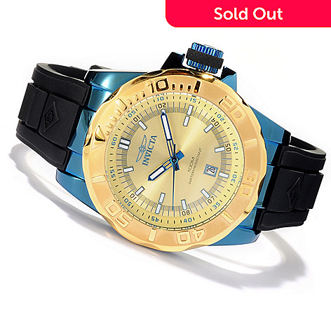 618-374 - Invicta 44mm Pro Diver Ocean Baron Quartz Polyurethane Strap Watch w/ Three-Slot Dive Case