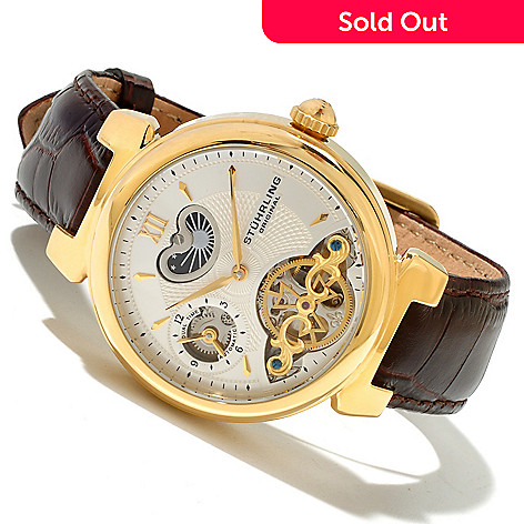 618-382 - Stührling Original Men's Magister Automatic Dual Time Open Heart Strap Leather Watch