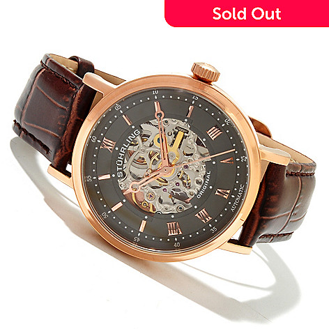618-383 - Stührling Original Men's Lexington Automatic Skeletonized Dial Leather Strap Watch