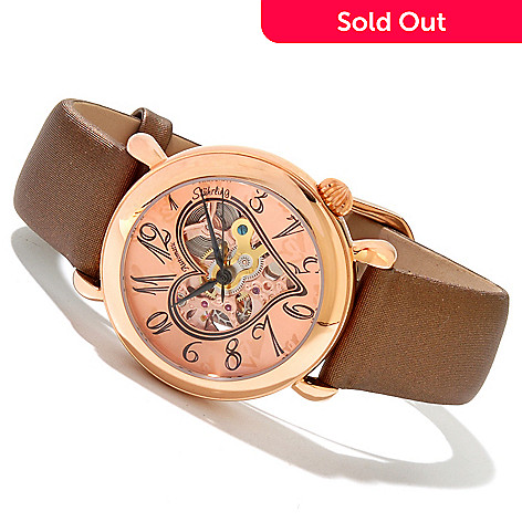 618-397 - Stührling Original Women's Cupid 2 Automatic Skeletonized Dial Leather Strap Watch