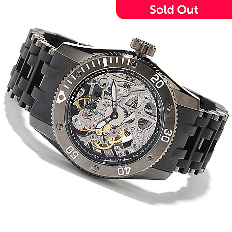 618-453 - Invicta Men's Sea Spider Mechanical Skeletonized Dial Stainless Steel & Polyurethane Bracelet Watch