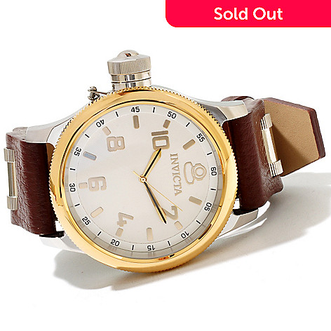 618-454 - Invicta Men's Quinotaur Russian Diver Elegant Quartz Leather Strap Watch