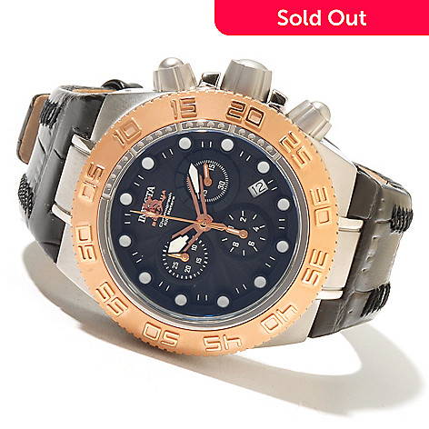 618-458 - Invicta Mid-size Subaqua Sport Elegant Quartz Chronograph Stainless Steel Leather Strap Watch