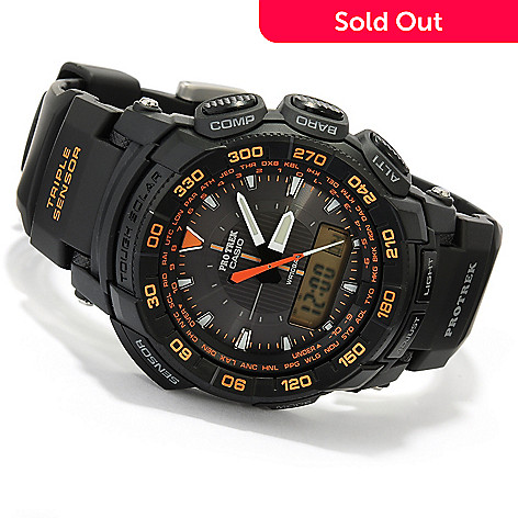 618-467 - Casio Men's Pro-Trek Solar Quartz Rubber Strap Watch