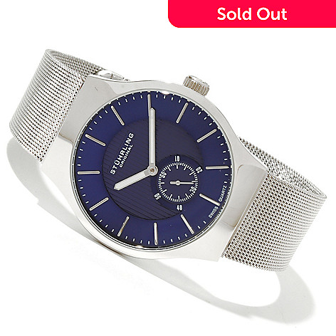 618-477 - Stührling Original Men's Albion Quartz Stainless Steel Mesh Bracelet Watch