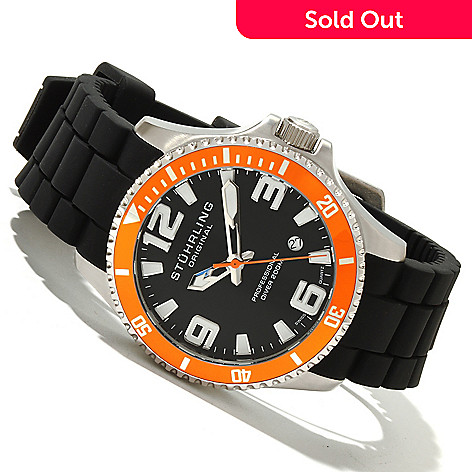 618-483 - Stührling Original Men's Regatta Champion Sport Quartz Stainless Steel Rubber Strap Watch