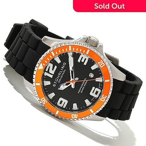 618-483 - Stührling Original Men's Regatta Champion Sport Quartz Stainless Steel Rubber Strap Watch