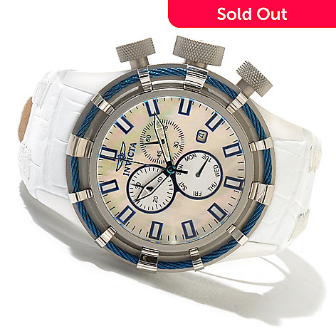 618-498 - Invicta 50mm Bolt Limited Edition Quartz Ceramic Mother-of-Pearl Watch w/ 20-Slot Collector's Box
