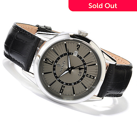 618-538 - Invicta Men's Vintage Collection Quartz GMT Stainless Steel Case Leather Strap Watch