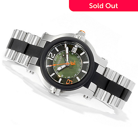 618-548 - Renato Beauty or Beast Limited Edition Swiss Quartz GMT Stainless Steel & Rubber Bracelet Watch
