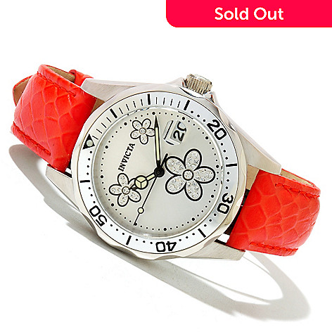 618-552 - Invicta Women's Pro Diver Quartz Crystal Accented Flower Dial Leather Strap Watch