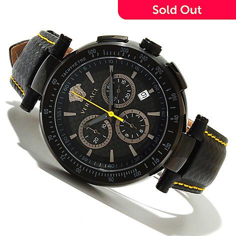 618-567 - Versace Men's Mystique Swiss Made Quartz Chronograph Leather Strap Watch