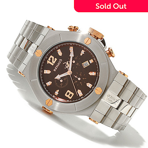 618-632 - Renato Men's Wilde-Beast Swiss Quartz Chronograph Stainless Steel Bracelet Watch