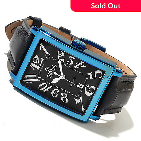 618-636 - Gevril Rectangular Avenue of the Americas Limited Edition Swiss Made Automatic Leather Strap Watch