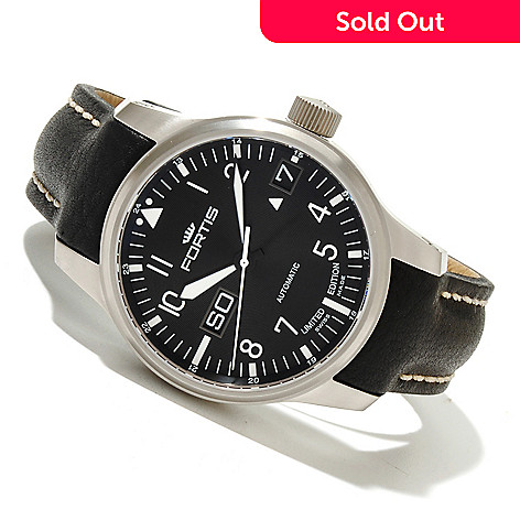 618-644 - FORTIS Men's F-43 Flieger Limited Edition Swiss Made Automatic Leather Strap Watch