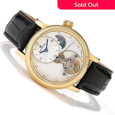 618-647 - Constantin Weisz Men's Formwerk Automatic Open Heart Leather Strap Watch