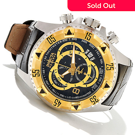 618-667 - Invicta Reserve Men's Excursion Elegant Swiss Made Quartz Chronograph Leather Strap Watch