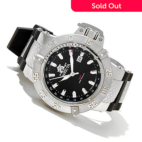 618-670 - Invicta Men's Subaqua Noma III Swiss Quartz GMT Polyurethane Strap Watch w/ 8-Slot Dive Case