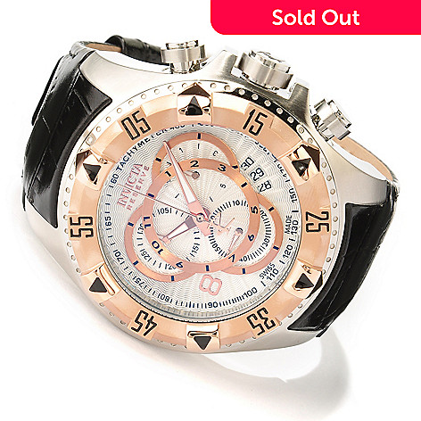 618-777 - Invicta Reserve 52mm Excursion Elegant Swiss Made Quartz Chronograph Leather Strap Watch