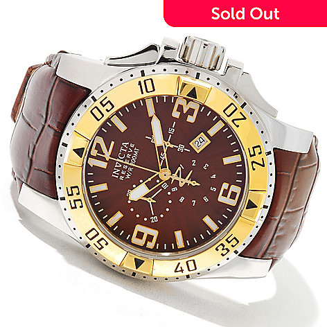 618-803 - Invicta Reserve 50mm Excursion Elegant Swiss Made Quartz Chronograph Leather Strap Watch