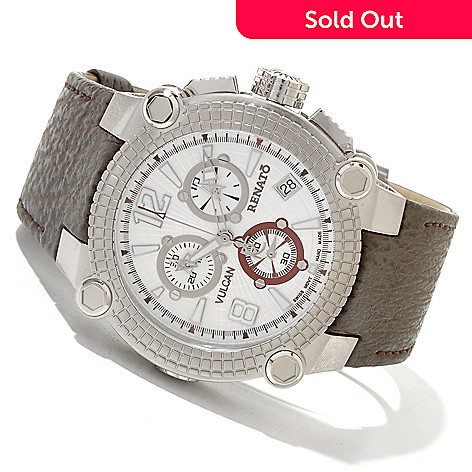 618-838 - Renato Men's Vulcan Swiss Quartz Chronograph Sharkskin Strap Watch