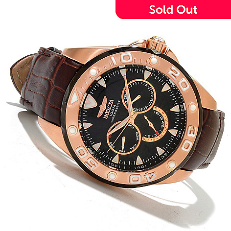 618-869 - Invicta Men's Pro Diver Elegant Ocean Quartz GMT Leather Strap Watch