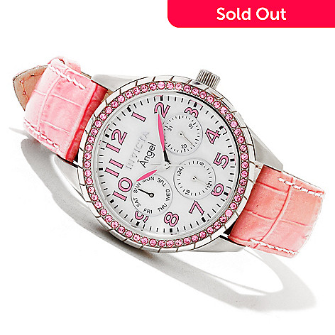 618-880 - Invicta Women's Angel Quartz Crystal Accented Stainless Steel Case Leather Strap Watch