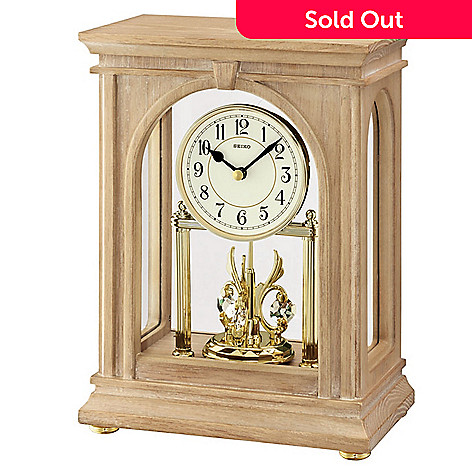 619-015 - Seiko Grand Rotating Pendulum Mantel Clock Made w/ Swarovski® Elements