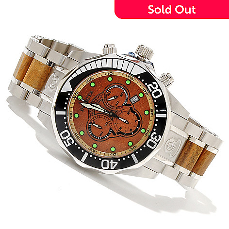 619-022 - Invicta Men's Pro Diver Quartz Chronograph Stainless Steel & Wood Bracelet Watch w/ 3-Slot Dive Case