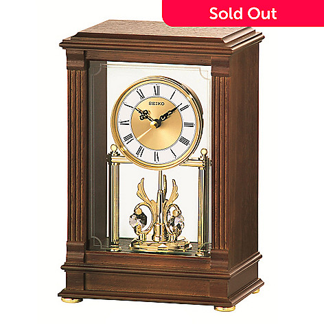 619-094 - Seiko Grand Rotating Pendulum Mantel Clock Made w/ Swarovski® Elements