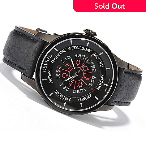 619-145 - Gevril 45mm Columbus Circle Limited Edition Swiss Made Automatic Leather Strap Watch