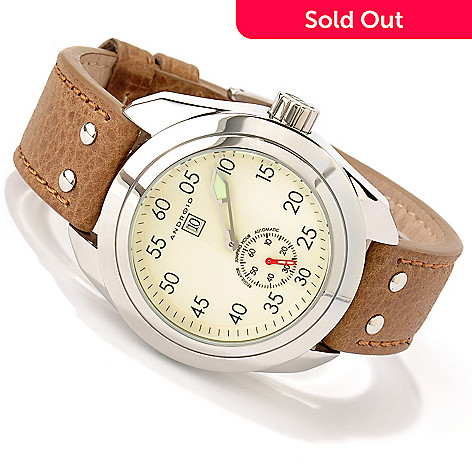 619-149 - Android Men's Impetus Automatic Jumping Hour Leather Strap Watch