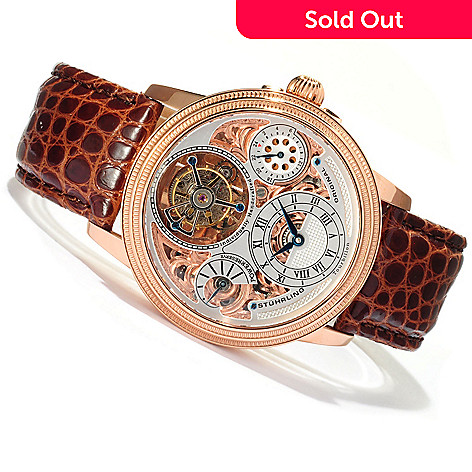 619-159 - Stührling Original Men's Master Double Barrel Mechanical Tourbillon Crocodile Strap Watch