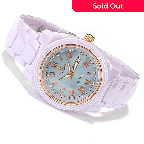 619-164 - Oniss Women's Quartz Crystal Accented Ceramic Bracelet Watch