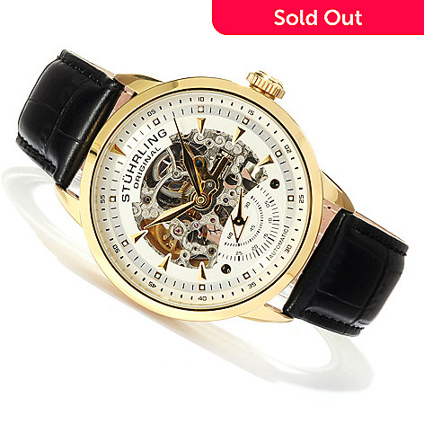 619-171 - Stührling Original Men's Executive Automatic Skeletonized Dial Leather Strap Watch