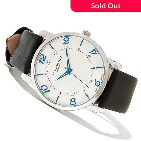 619-173 - Stührling Original Men's Corona Ultra Slim Quartz Stainless Steel Leather Strap Watch