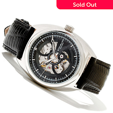 619-174 - Stührling Original Men's Tandem Automatic Stainless Steel Leather Strap Watch