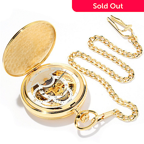 619-193 - Stauer Men's 1760 Skeleton Mechanical Double Hunter Back Pocket Watch