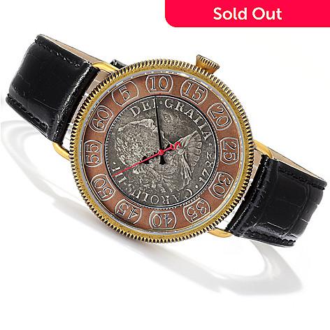 619-194 - Stauer Men's Swiss Quartz 18th Century Spanish Silver Reale Coin Leather Strap Watch