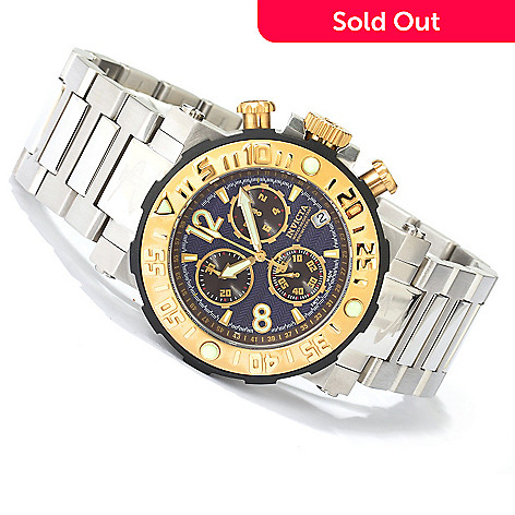 619-233 - Invicta Reserve Men's Sea Rover Swiss Made Quartz Chronograph Bracelet Watch w/ 3-Slot Dive Case