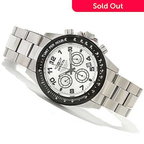 619-374 - Invicta Men's Speedway II Quartz Chronograph Stainless Steel Bracelet Watch w/ 3-slot Dive Case